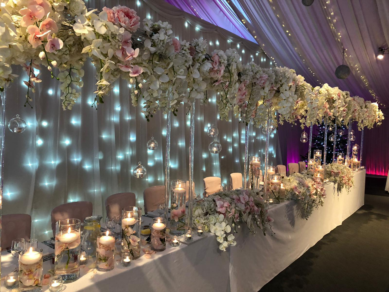 Wedding Top Table with silk flowers